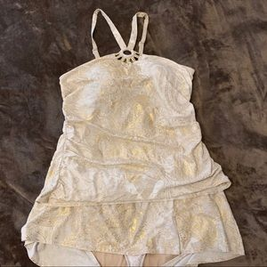 Cacique swimsuit white and gold